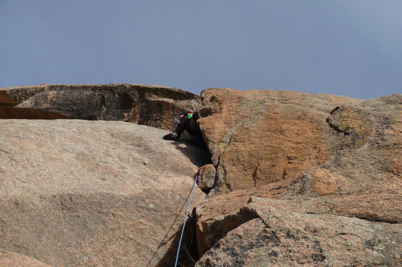 Rock Climbing Photo: Andy Beekman leading the second pitch.