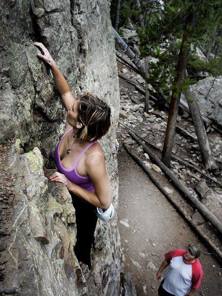 Jaime climbing the (hb) walls of Swan Mt. Summit county, Colorado.