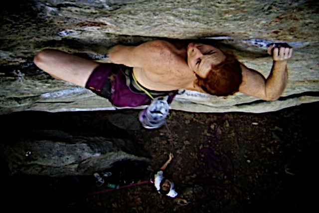 "Moving past crux two.  Luke is not getting stung on ""The Sting"".  The Gunks classic Traps single pitcher.  New Paltz, NY."