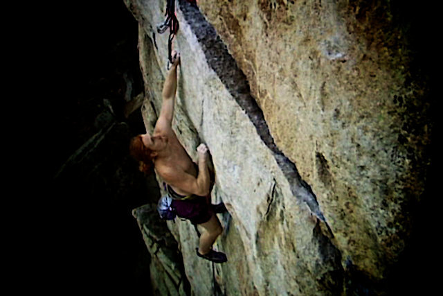 "Luke polishes of the final crux move on the Traps classic ""The Sting"".  The Gunks.  New Paltz, NY."