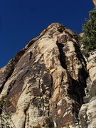 Rock Climbing Photo: Frieda's Flake. The route climbs the chimney and c...