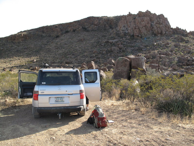Rock Climbing Photo: Parking pullout at the base of the Grapevine Hills...