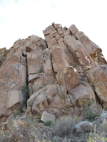 Rock Climbing Photo: Close up of right side of Grapevine Hills crag.