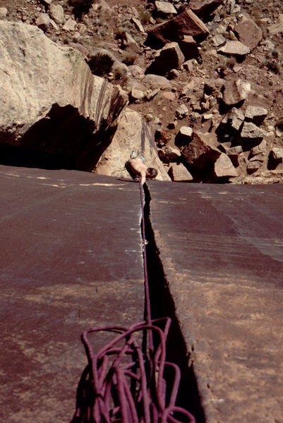 Rock Climbing Photo: Steve Mestdagh crackin the Super Crack. Photo: Bob...