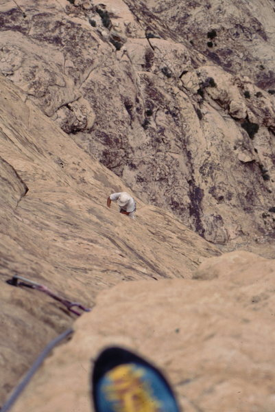 John Baldwin seconding the upper pitches on levitation 29. Photo: Bob Horan Collection.
