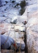 Rock Climbing Photo: A good rest just below the crux on the Bat Crack.