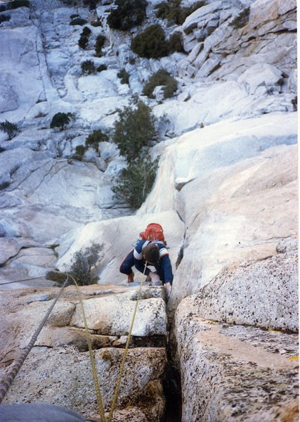 Rock Climbing Photo: In the crux of the Bat Crack.