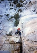 Rock Climbing Photo: In the crux of the Bat Crack.