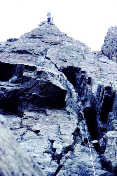 Rock Climbing Photo: Bob Horan heading up the Petit Grepon.