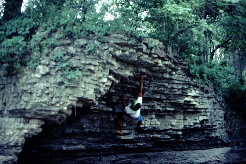 Bob Horan bouldering along the Kankakee River, circa 1974.