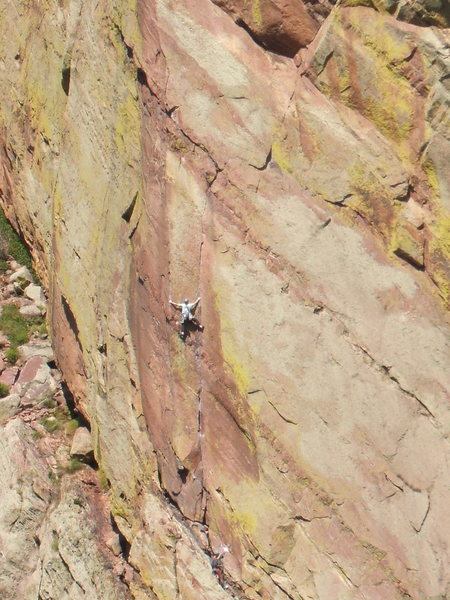 Classic finger crack climbing on the first pitch of the Edge, photo: Bob Horan Collection.