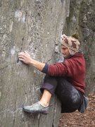 Rock Climbing Photo: Getting intimate with the rock while executing the...
