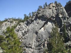 Rock Climbing Photo: China Doll splits the LA formation.  Photo: Bob Ho...