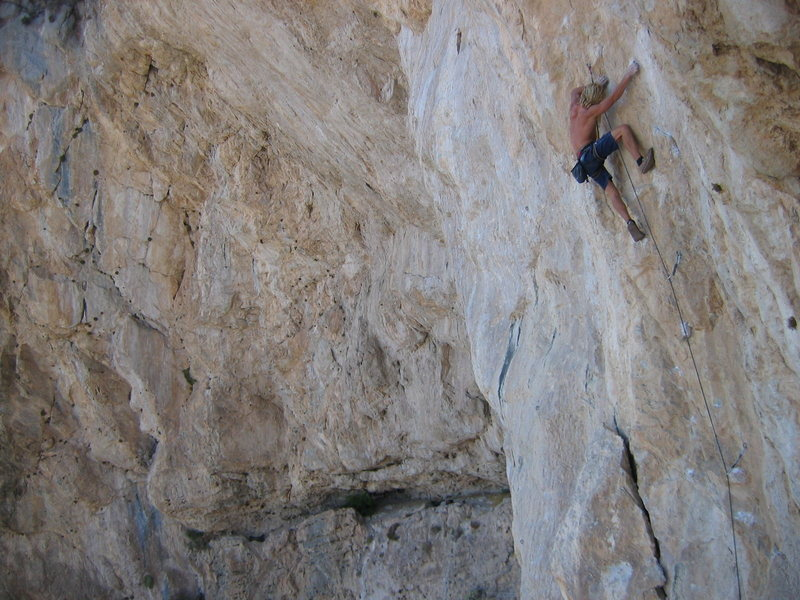 Rock Climbing Photo: Chris Lindner climbing 13a at Clark Mountain in hi...