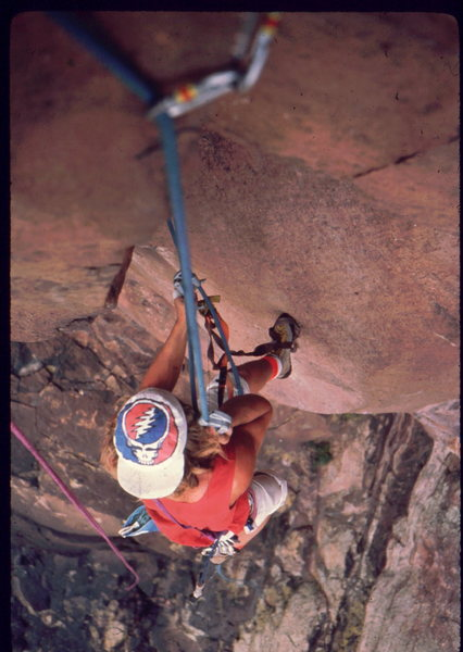 Skip Guerin practice climbing on Tower Two, jugging Centaur, photo: Bob Horan Collection.