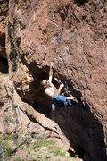 Rock Climbing Photo: Ruben pulling the lip at the start of the route, j...