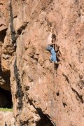 Rock Climbing Photo: Ruben making long reaches starting up the long wan...
