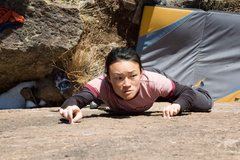 Rock Climbing Photo: Linda Wong looking/hopping for better holds on No ...