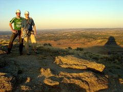 Rock Climbing Photo: Isaac and I on top of the Tower at sunset, October...
