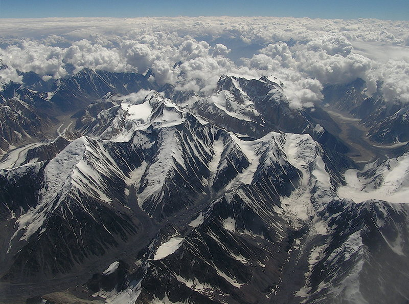 Aerial view of the Hindukush Mountains in Chitral