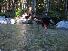 Rock Climbing Photo: River Crossing on the approach to Mt Challenger, C...