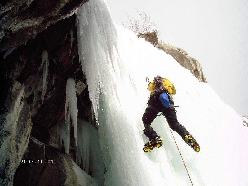 Julian soloing the last pitch just outside of the ice cave.
