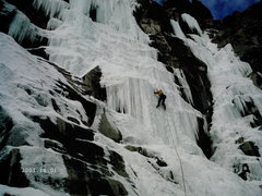 Rock Climbing Photo: Julian soloing the second pitch.