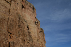 Rock Climbing Photo: In the nice pockets above the lower crux, getting ...