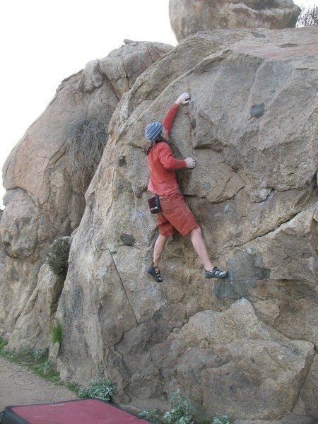 Euan at the crux of Masterlock (V2), Mt. Rubidoux.