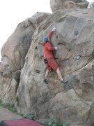Rock Climbing Photo: Euan at the crux of Masterlock (V2), Mt. Rubidoux....