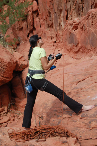 me belaying<br> Panty Wall, Red Rock Canyon, Oct 2008