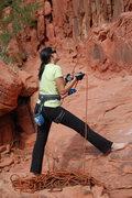 Rock Climbing Photo: me belaying Panty Wall, Red Rock Canyon, Oct 2008