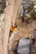 Rock Climbing Photo: Charlie Stiers starting up the Swiss Cheese proble...