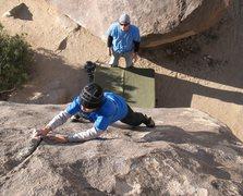 Rock Climbing Photo: Jeffy cruising the finish of Smoothie (V0+), Joshu...