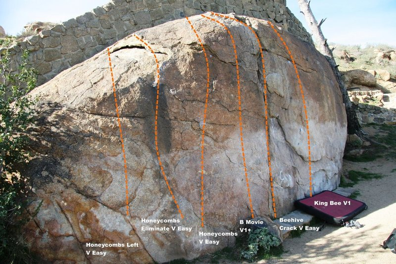 Rock Climbing Photo: Beehive Wall Left Topo