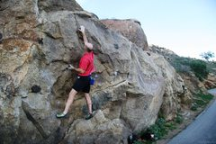 Rock Climbing Photo: Reaching up at the start of the crux on Masterlock...