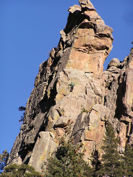 Here is a shot of the cliff, with Bert leading Butter Cup....