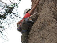 Rock Climbing Photo: Amy at the first crux section.