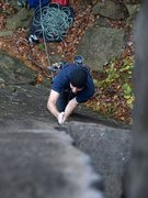 Rock Climbing Photo: My first time leading crack on Lost Ego. Photo JLe