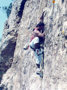Rock Climbing Photo: Early lead of Barnburner crack Red Wing Mn.