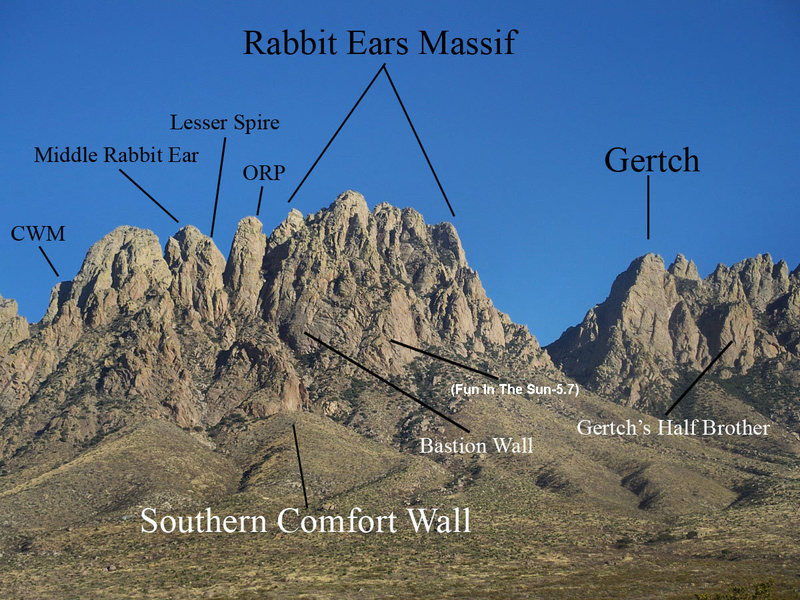 Rock Climbing Photo: Northern Section of Organ Mountains labeled.