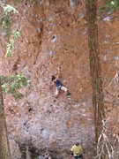Rock Climbing Photo: Linda Wong working her way throught the pockets to...