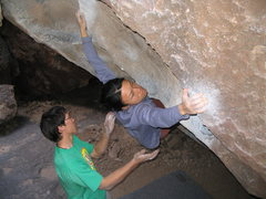 Rock Climbing Photo: Linda moving from the steep jugs out onto the face...