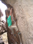 Rock Climbing Photo: Sticking the crack at the top (barely) first go. T...