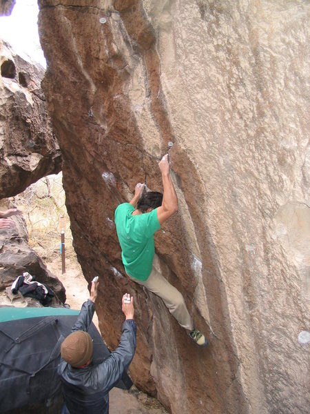 Even though the climber is on The Berzerker, you can see Hot Wax in the background. Climb the nice looking chalked horizontals.