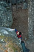 Rock Climbing Photo: The top out, getting ready to perform the highly t...