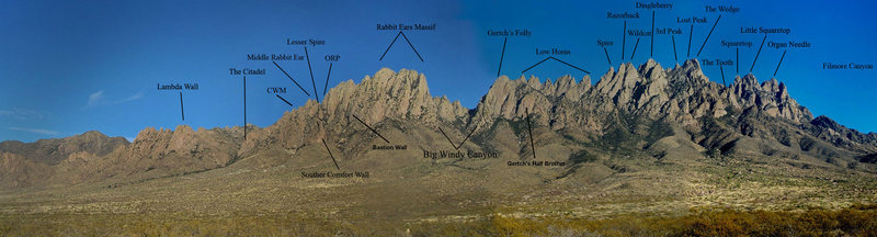 Peak Labels of the Organ Mountains