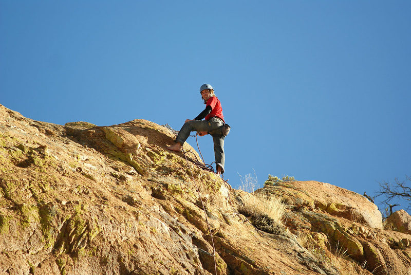 Rock Climbing Photo: Mike belaying from top anchors of Hot Tamale.