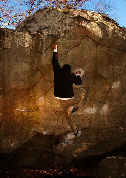 Daniel Luke on Comet Boulder,Rocktown,GA.