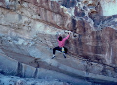 Rock Climbing Photo: Bob Horan bouldering at Hueco on Obscured By Cloud...